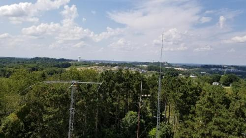 Tree top view of the Mosley and repeater antennas.